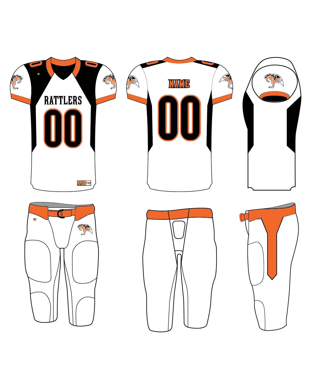 Custom Sublimated Football Uniform - Rattlers 1