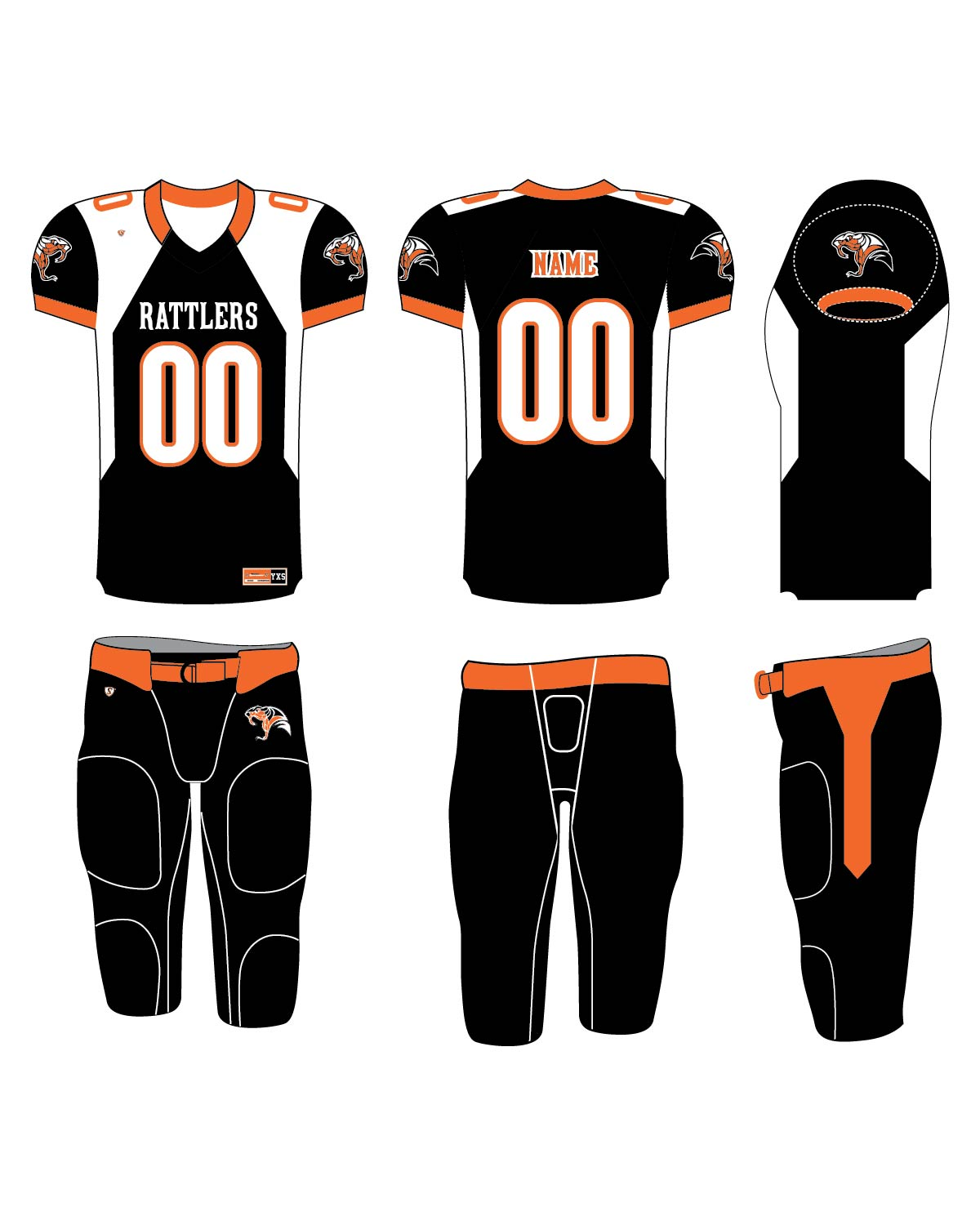 Custom Sublimated Football Uniform - Rattlers 2