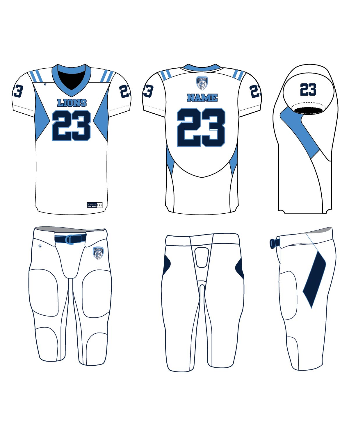Custom Sublimated Football Uniform - Lions 1