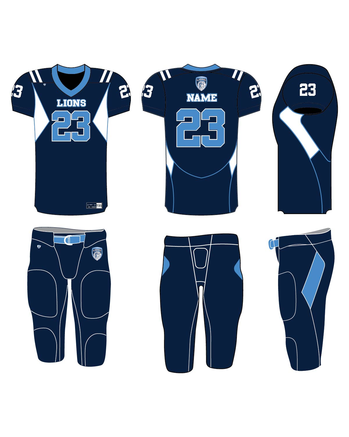 Custom Sublimated Football Uniform - Lions 2