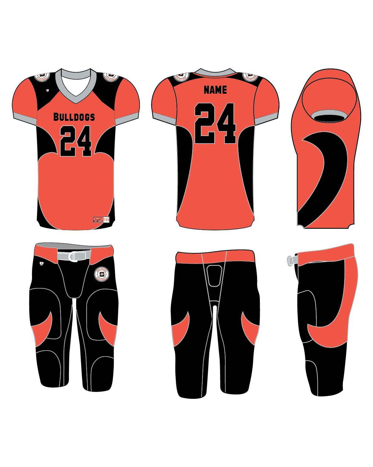 Custom Sublimated Football Uniform - Bulldogs 1