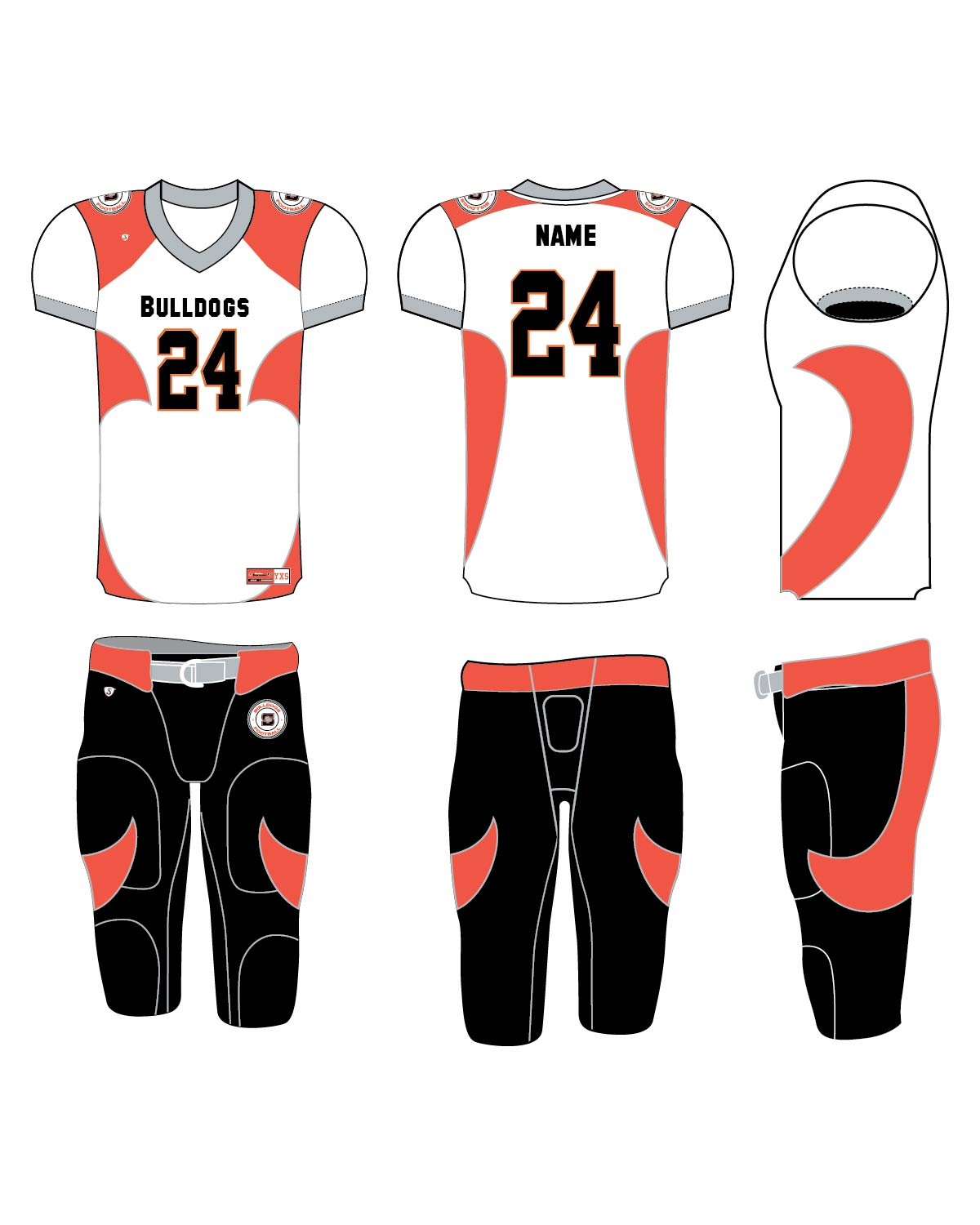Custom Sublimated Football Uniform - Bulldogs 2