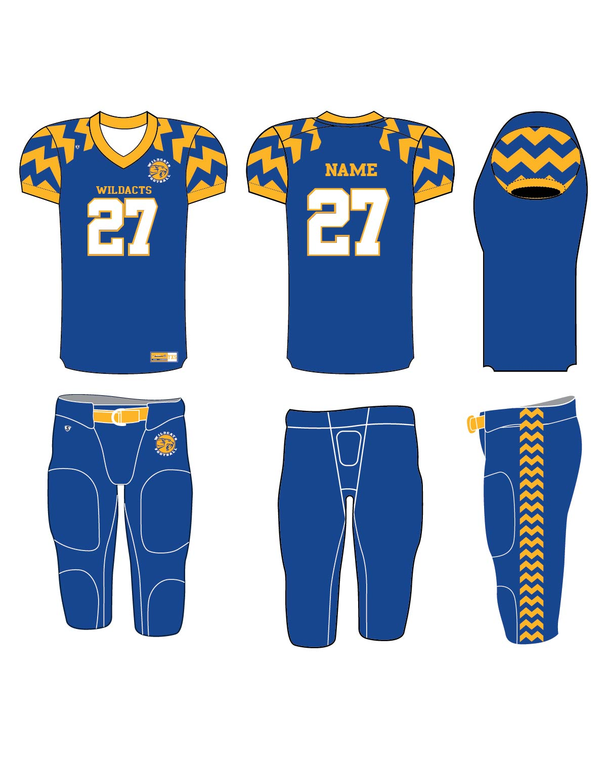 Custom Sublimated Football Uniform - Wildcats 2